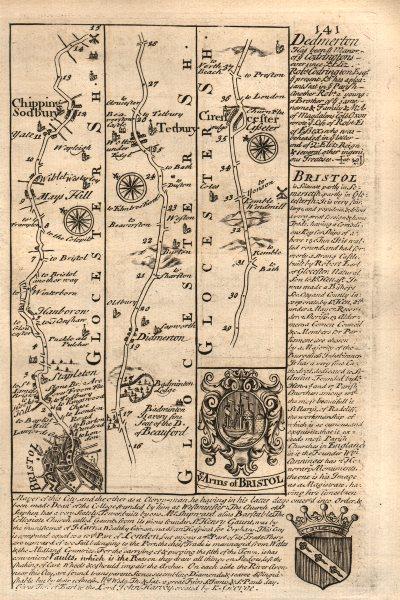 Associate Product Bristol-Chipping Sodbury-Tetbury-Cirencester road map by OWEN & BOWEN 1753