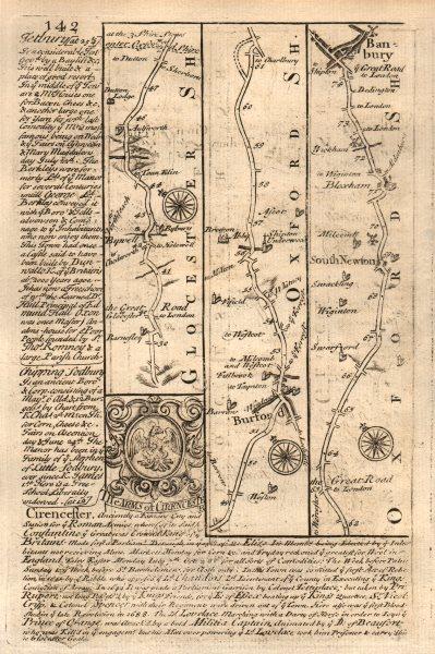 Associate Product Barnsley-Bibury-Burford-Banbury road strip map by J. OWEN & E. BOWEN 1753