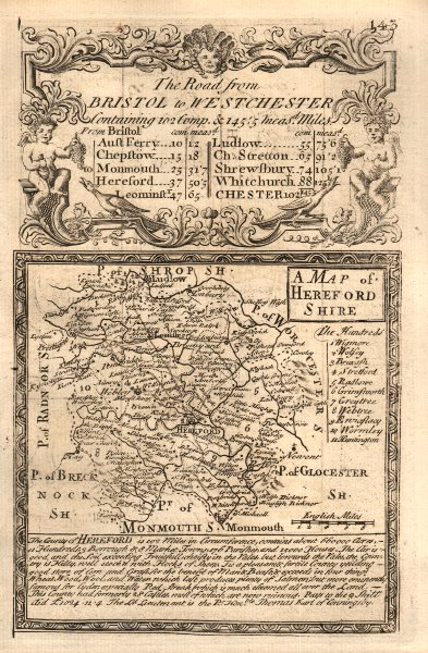 Associate Product 'A Map of Hereford-Shire'. County map by J. OWEN & E. BOWEN. Herefordshire 1753