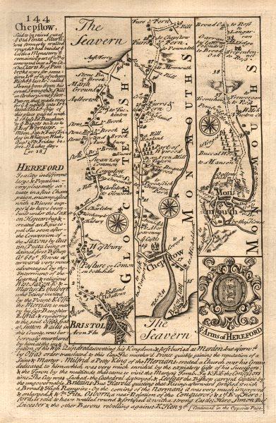 Associate Product Bristol-Chepstow-Monmouth road strip map by J. OWEN & E. BOWEN 1753 old