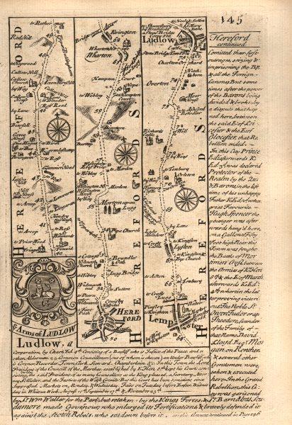 Associate Product Hereford-Wharton-Leominster-Ludlow road strip map by J. OWEN & E. BOWEN 1753