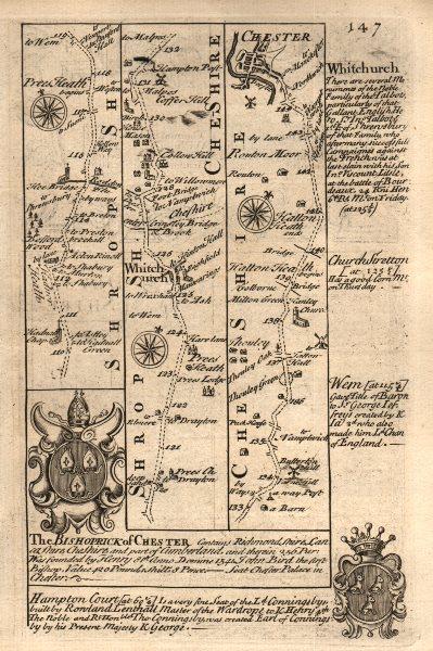 Associate Product Prees Heath-Whitchurch-Chester road strip map by J. OWEN & E. BOWEN 1753