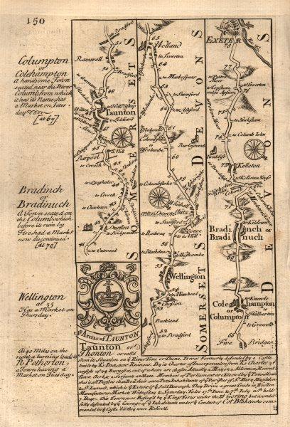 Associate Product Taunton-Wellington-Willand-Bradninch-Exeter road map by OWEN & BOWEN 1753