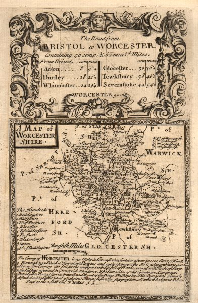 Associate Product 'A Map of Worcester-Shire'. County map by OWEN & BOWEN. Worcestershire 1753