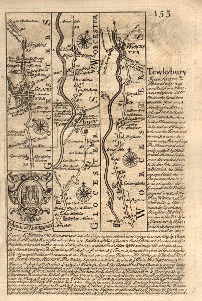 Associate Product Gloucester-Tewkesbury-Ripple-Severn Stoke-Worcester OWEN/BOWEN road map 1753