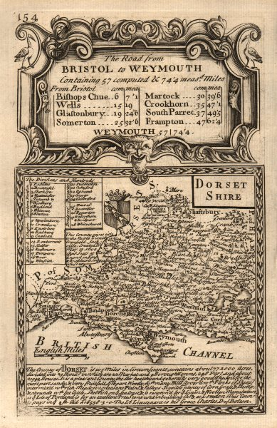 Associate Product 'Dorset-Shire'. County map by J. OWEN & E. BOWEN. Dorsetshire 1753 old