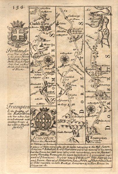 Associate Product Martock-West Chinnock-Crewkerne-Frampton-Weymouth road map by OWEN & BOWEN 1753