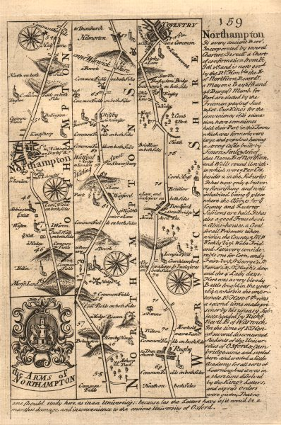 Northampton-Watford-Rugby-Bretford-Coventry road map by OWEN & BOWEN 1753