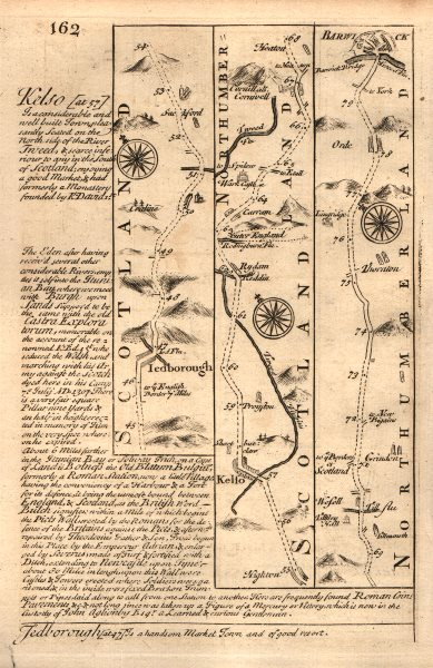 Associate Product Jedburgh-Kelso-Carham-Berwick upon Tweed road map by J. OWEN & E. BOWEN 1753