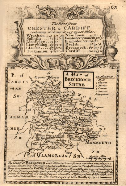 Associate Product 'A Map of Brecknock-Shire'. County map by OWEN & BOWEN. Brecknockshire 1753