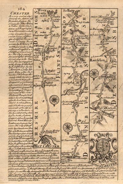 Associate Product Chester-Wrexham-Ruabon-Selattyn-Llanfyllin road map by OWEN & BOWEN 1753