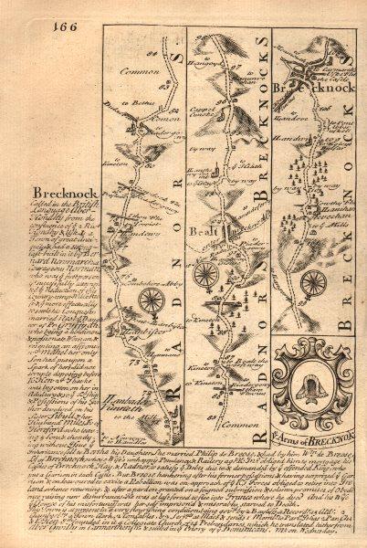 Associate Product Llanbadarn Fynydd-Builth Wells-Brecon road map by J. OWEN & E. BOWEN 1753