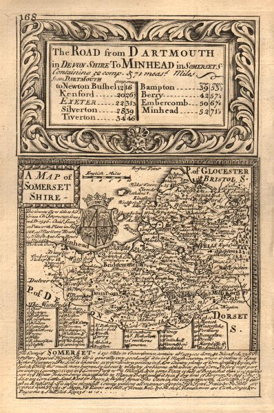 'A Map of Somerset-Shire'. County map by J. OWEN & E. BOWEN. Somersetshire 1753