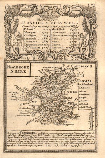 Associate Product 'Pembroke-Shire'. County map by J. OWEN & E. BOWEN. Pembrokeshire 1753 old