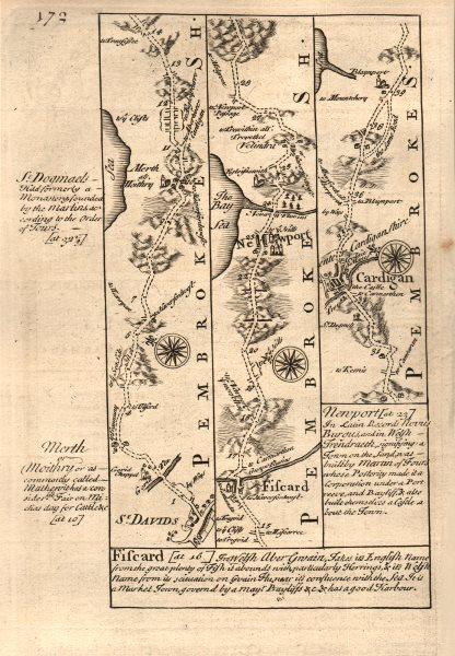 Associate Product St David's-Fishguard-Newport-Cardigan road map by J. OWEN & E. BOWEN 1753