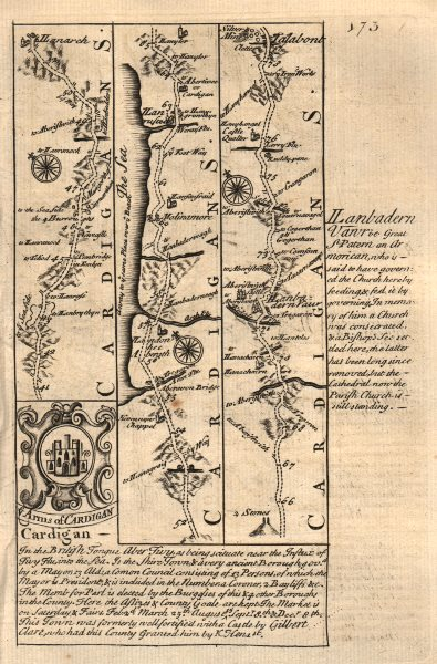 Associate Product Llanarth-Aberarth-Llanrhystud-Aberystwyth-Talybont OWEN/BOWEN road map 1753