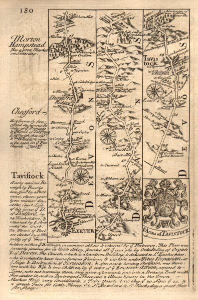 Associate Product Exeter-Dunsford-Chagford-Tavistock road strip map by J. OWEN & E. BOWEN 1753