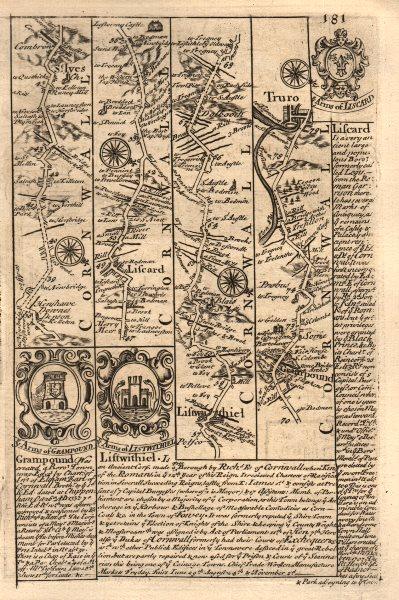 Associate Product St Ives-Liskeard-Lostwithiel-Grampound-Truro road map by OWEN & BOWEN 1753