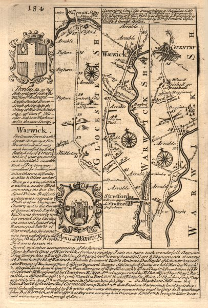 Associate Product Mickleton-Stratford upon Avon-Warwick-Coventry road map by OWEN & BOWEN 1753