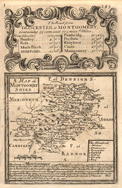 Associate Product 'A Map of Montgomery-Shire'. County map by OWEN & BOWEN. Montgomeryshire 1753