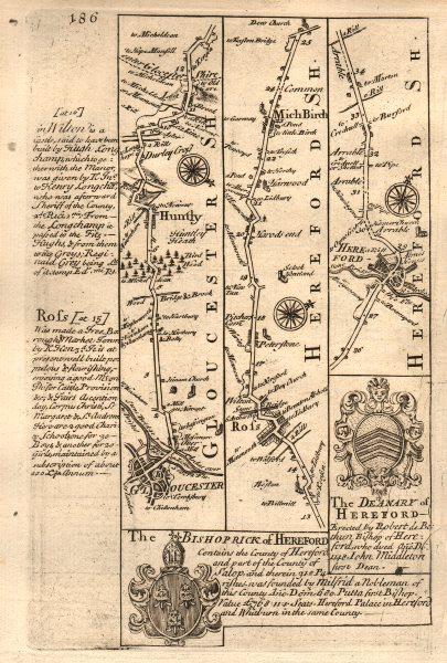 Associate Product Gloucester-Huntley-Ross on Wye-Much Birch-Hereford OWEN/BOWEN road map 1753