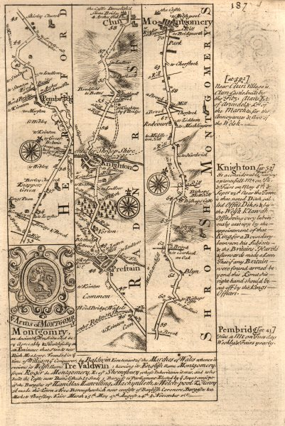 Associate Product Pembridge-Presteigne-Knighton-Clun-Montgomery road map by OWEN & BOWEN 1753