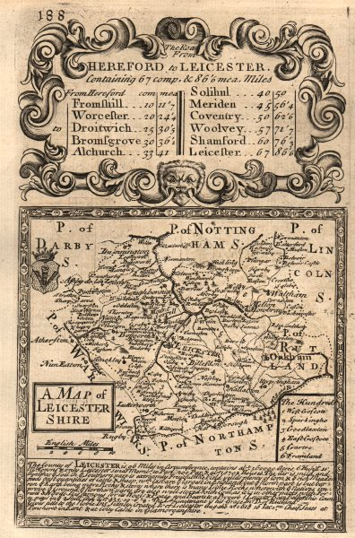 Associate Product 'A Map of Leicester-Shire'. County map by OWEN & BOWEN. Leicestershire 1753