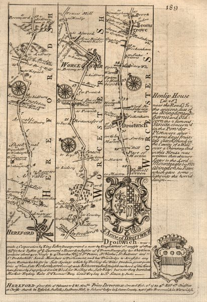 Associate Product Hereford-Worcester-Droitwich Spa-Bromsgrove road map by OWEN & BOWEN 1753