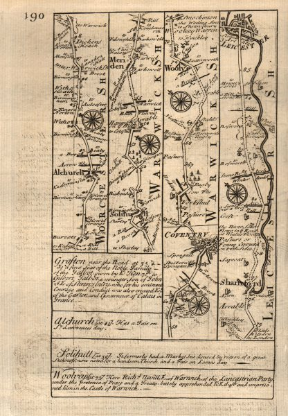 Associate Product Alvechurch-Solihull-Meriden-Coventry-Wolvey-Leicester OWEN/BOWEN road map 1753