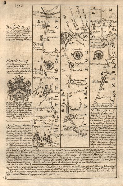 Associate Product Huntingdon-St Ives-Earith-Sutton-Ely-Soham road map by OWEN & BOWEN 1753