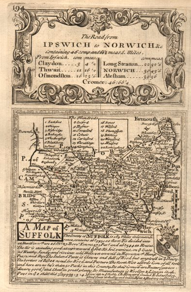 Associate Product 'A Map of Suffolk'. County map by J. OWEN & E. BOWEN 1753 old antique