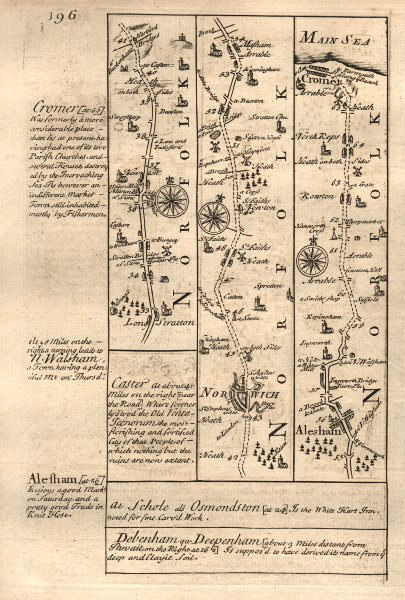 Associate Product Long Stratton-Norwich-Aylsham-Cromer road strip map by J. OWEN & E. BOWEN 1753