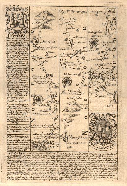 King's Lynn-Narborough-Swaffham-Thetford road map by J. OWEN & E. BOWEN 1753