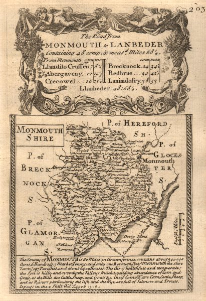 Associate Product 'Monmouth-Shire'. County map by J. OWEN & E. BOWEN. Monmouthshire 1753 old
