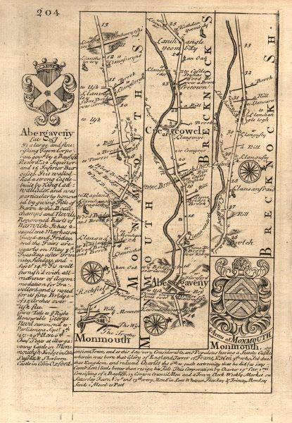 Associate Product Monmouth-Abergavenny-Crickhowell road strip map by J. OWEN & E. BOWEN 1753
