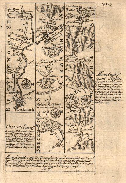 Associate Product Brecon-Llandovery-Llanybydder road strip map by J. OWEN & E. BOWEN 1753