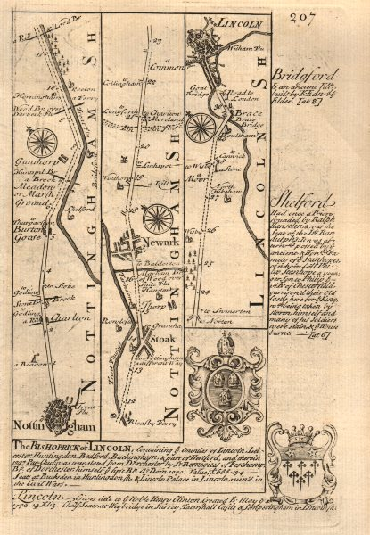 Associate Product Nottingham-Carlton-Gunthorpe-Newark on Trent-Lincoln OWEN/BOWEN road map 1753