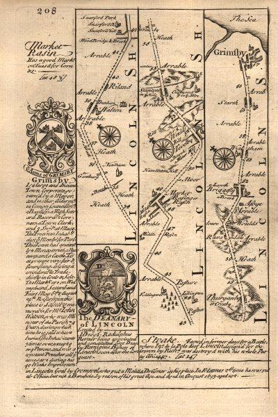 Associate Product Welton-Market Rasen-Thorganby-Grimsby road map by J. OWEN & E. BOWEN 1753