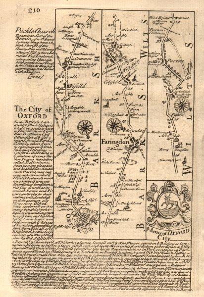 Associate Product Oxford-Fyfield-Faringdon-Purton road strip map by J. OWEN & E. BOWEN 1753