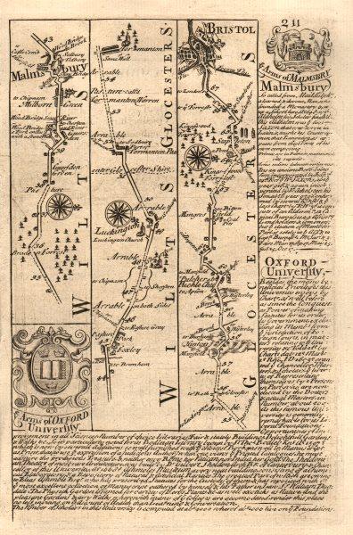 Associate Product Malmesbury-Luckington-Tormarton-Pucklechurch-Bristol OWEN/BOWEN road map 1753