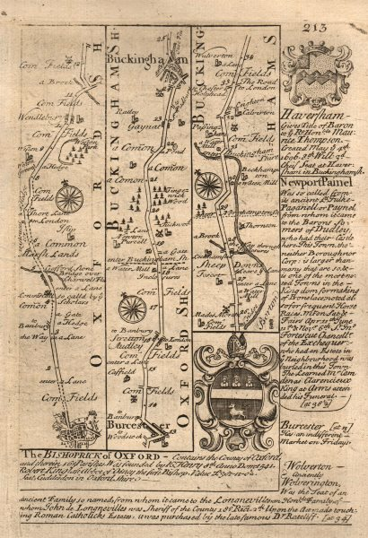 Associate Product Oxford-Bicester-Stratton Audley-Buckingham road map by OWEN & BOWEN 1753