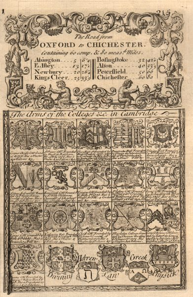 Associate Product 'The Arms of the Colleges in Cambridge'. J. OWEN & E. BOWEN 1753 old print