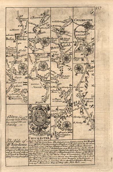 Associate Product Basingstoke-Alton-Petersfield-Chichester road map by J. OWEN & E. BOWEN 1753