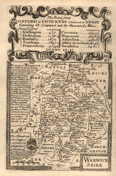 Associate Product 'Warwick Shire'. County map by J. OWEN & E. BOWEN. Warwickshire 1753 old