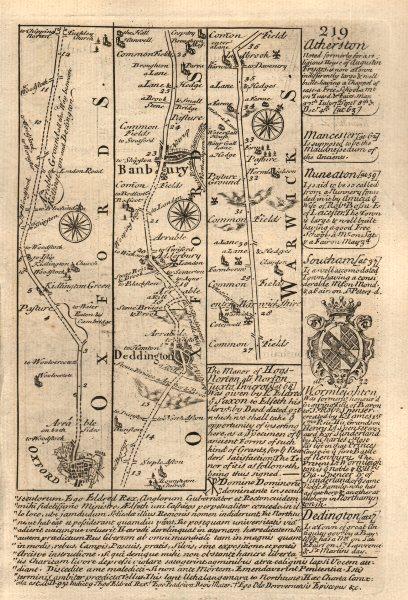 Associate Product Oxford-Deddington-Banbury road strip map by J. OWEN & E. BOWEN 1753 old