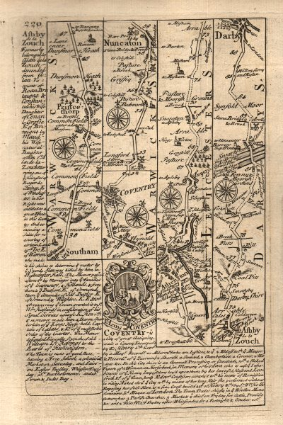 Associate Product Southam-Coventry-Nuneaton-Ashby de la Zouch-Derby road map by OWEN & BOWEN 1753