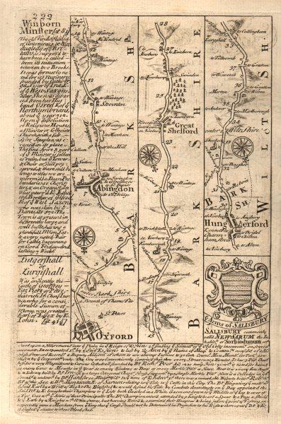 Associate Product Oxford-Abingdon-Great Shefford-Hungerford road map by J. OWEN & E. BOWEN 1753