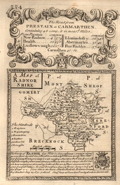 Associate Product 'A Map of Radnor Shire'. County map by J. OWEN & E. BOWEN. Radnorshire 1753