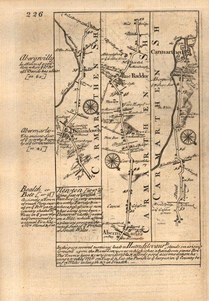 Associate Product Llandovery-Abermarlais-Carmarthen road strip map by J. OWEN & E. BOWEN 1753