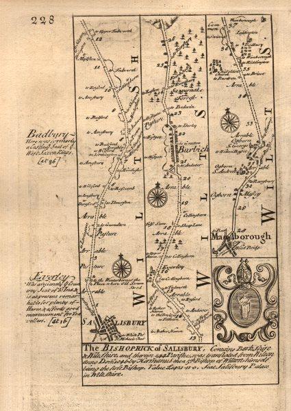 Associate Product Salisbury-Burbage-Marlborough road strip map by J. OWEN & E. BOWEN 1753